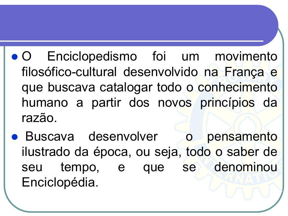 O Enciclopedismo foi um movimento filosófico-cultural desenvolvido na França e que buscava catalogar todo o conhecimento humano a partir dos novos pri