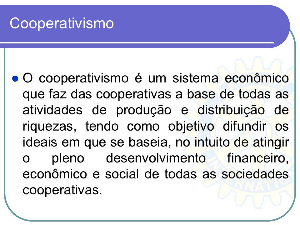 Cooperativismo O cooperativismo é um sistema econômico que faz das cooperativas a base de todas as atividades de produção e distribuição de riquezas,