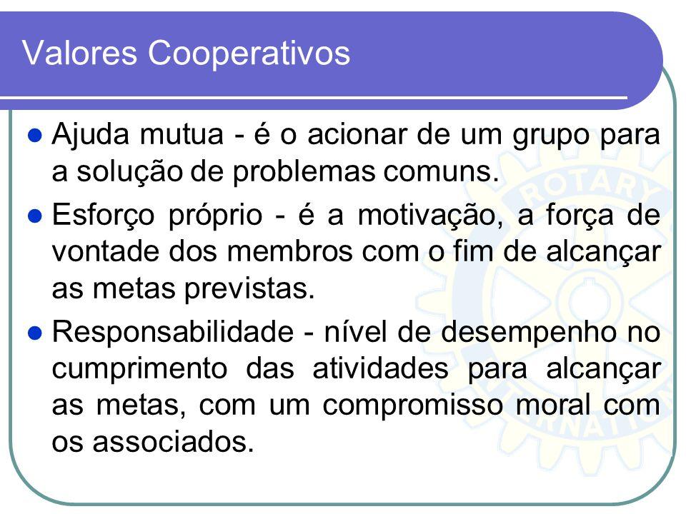 Valores Cooperativos Ajuda mutua - é o acionar de um grupo para a solução de problemas comuns. Esforço próprio - é a motivação, a força de vontade dos