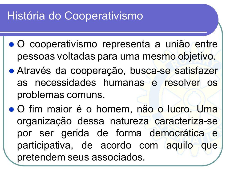 História do Cooperativismo O cooperativismo representa a união entre pessoas voltadas para uma mesmo objetivo. Através da cooperação, busca-se satisfa