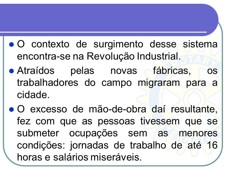 O contexto de surgimento desse sistema encontra-se na Revolução Industrial. Atraídos pelas novas fábricas, os trabalhadores do campo migraram para a c
