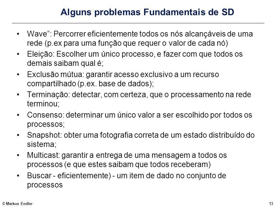 © Markus Endler13 Alguns problemas Fundamentais de SD Wave: Percorrer eficientemente todos os nós alcançáveis de uma rede (p.ex para uma função que re