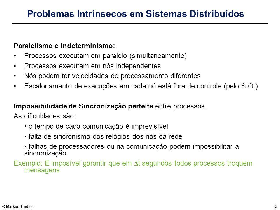 © Markus Endler15 Problemas Intrínsecos em Sistemas Distribuídos Paralelismo e Indeterminismo: Processos executam em paralelo (simultaneamente) Proces