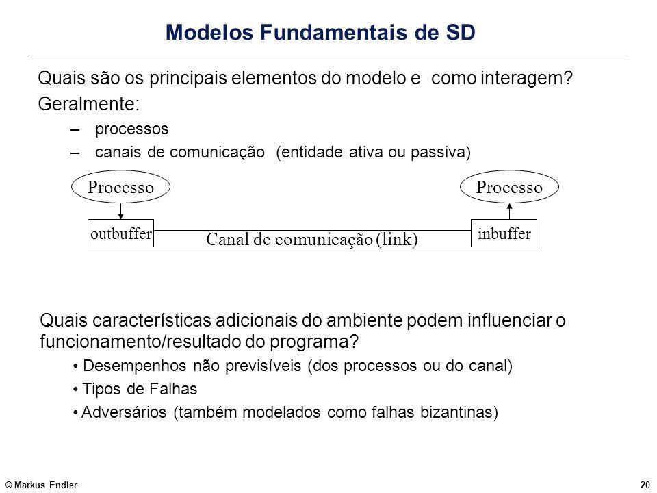 © Markus Endler20 Modelos Fundamentais de SD Quais são os principais elementos do modelo e como interagem? Geralmente: –processos –canais de comunicaç