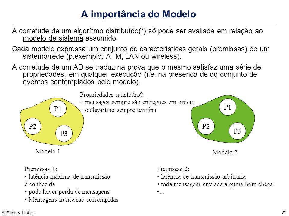 © Markus Endler21 A importância do Modelo A corretude de um algorítmo distribuído(*) só pode ser avaliada em relação ao modelo de sistema assumido. Ca