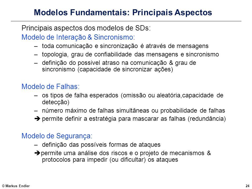 © Markus Endler24 Modelos Fundamentais: Principais Aspectos Principais aspectos dos modelos de SDs: Modelo de Interação & Sincronismo: –toda comunicaç