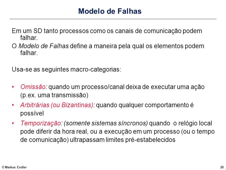 © Markus Endler28 Modelo de Falhas Em um SD tanto processos como os canais de comunicação podem falhar. O Modelo de Falhas define a maneira pela qual