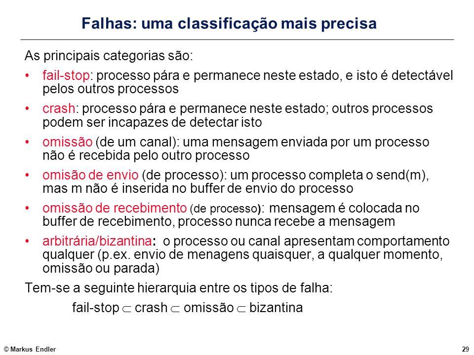 © Markus Endler29 Falhas: uma classificação mais precisa As principais categorias são: fail-stop: processo pára e permanece neste estado, e isto é det