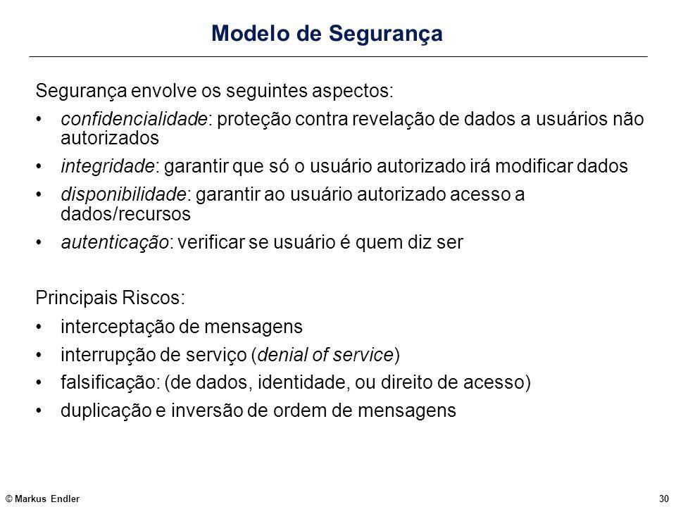 © Markus Endler30 Modelo de Segurança Segurança envolve os seguintes aspectos: confidencialidade: proteção contra revelação de dados a usuários não au