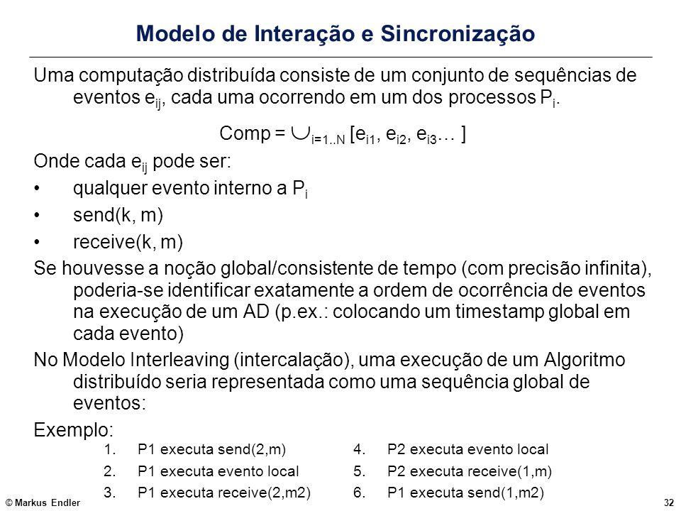 © Markus Endler32 Modelo de Interação e Sincronização Uma computação distribuída consiste de um conjunto de sequências de eventos e ij, cada uma ocorr