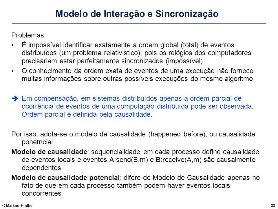© Markus Endler33 Modelo de Interação e Sincronização Problemas: É impossível identificar exatamente a ordem global (total) de eventos distribuídos (u