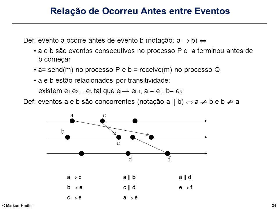 © Markus Endler34 Relação de Ocorreu Antes entre Eventos Def: evento a ocorre antes de evento b (notação: a b) a e b são eventos consecutivos no proce