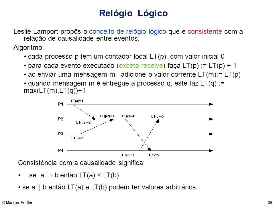 © Markus Endler36 Relógio Lógico Leslie Lamport propôs o conceito de relógio lógico que é consistente com a relação de causalidade entre eventos: Algo