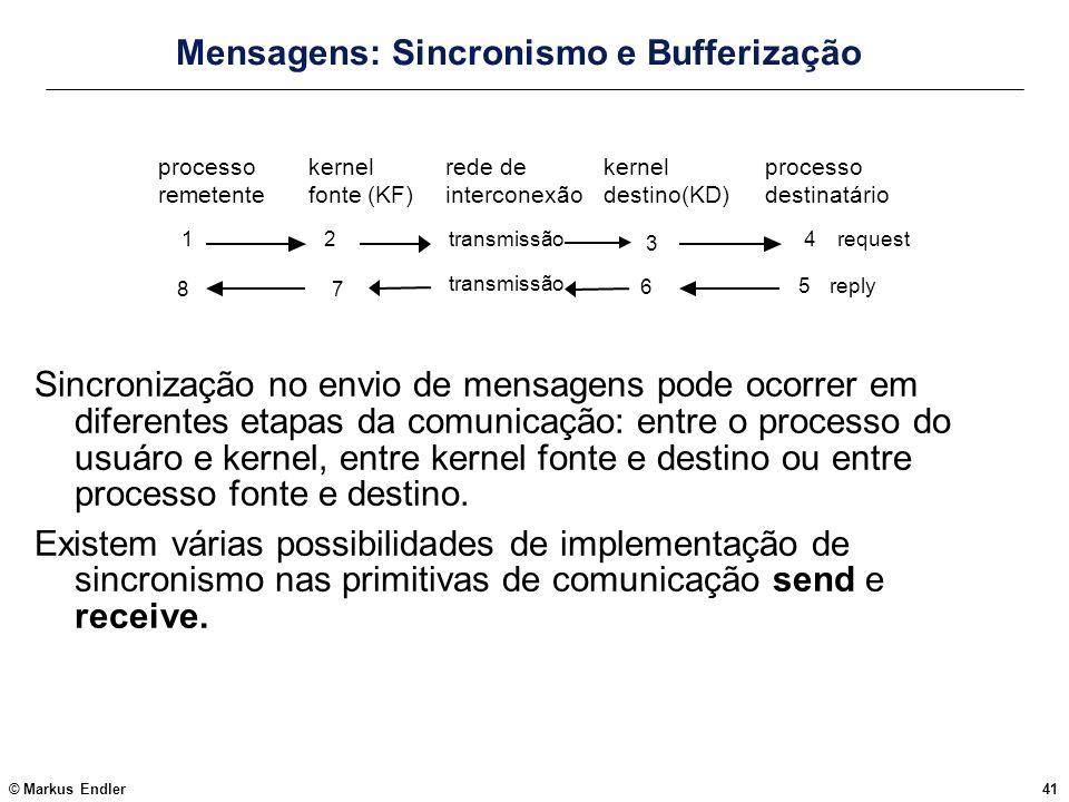 © Markus Endler41 Mensagens: Sincronismo e Bufferização Sincronização no envio de mensagens pode ocorrer em diferentes etapas da comunicação: entre o