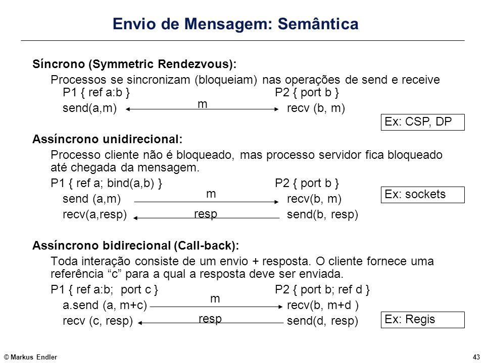 © Markus Endler43 Envio de Mensagem: Semântica Síncrono (Symmetric Rendezvous): Processos se sincronizam (bloqueiam) nas operações de send e receive P