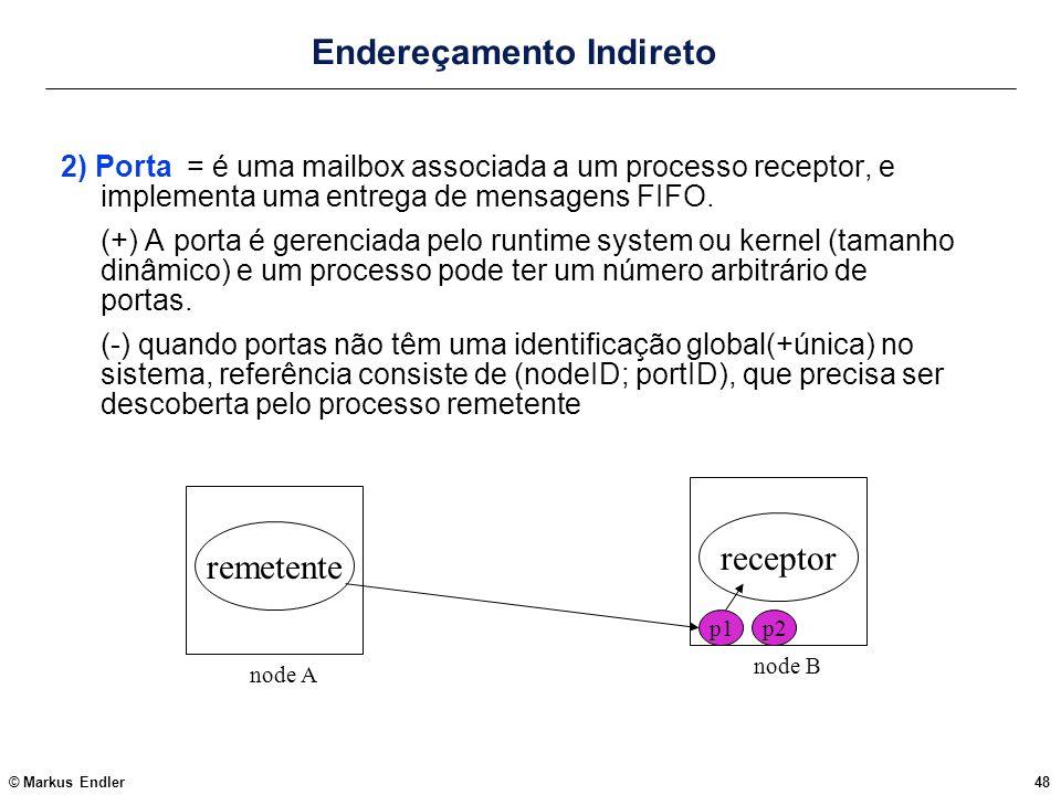 © Markus Endler48 Endereçamento Indireto 2) Porta = é uma mailbox associada a um processo receptor, e implementa uma entrega de mensagens FIFO. (+) A