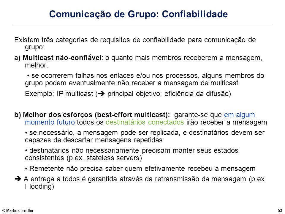 © Markus Endler53 Comunicação de Grupo: Confiabilidade Existem três categorias de requisitos de confiabilidade para comunicação de grupo: a) Multicast