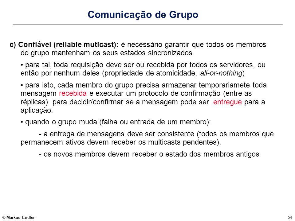 © Markus Endler54 Comunicação de Grupo c) Confiável (reliable muticast): é necessário garantir que todos os membros do grupo mantenham os seus estados
