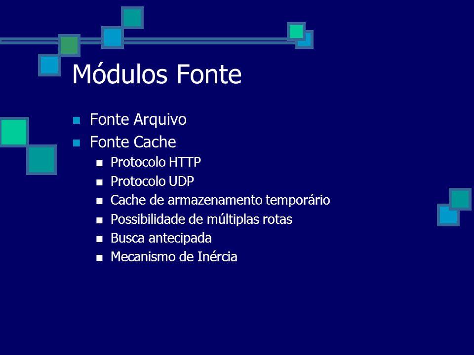 Módulos Fonte Fonte Arquivo Fonte Cache Protocolo HTTP Protocolo UDP Cache de armazenamento temporário Possibilidade de múltiplas rotas Busca antecipa