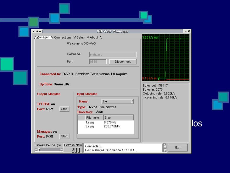 Módulo Gerente Fornece uma interface HTTP para gerenciamento do servidor Browser Interface gráfica Recuperação de estatísticas (GET) Alterar a configu