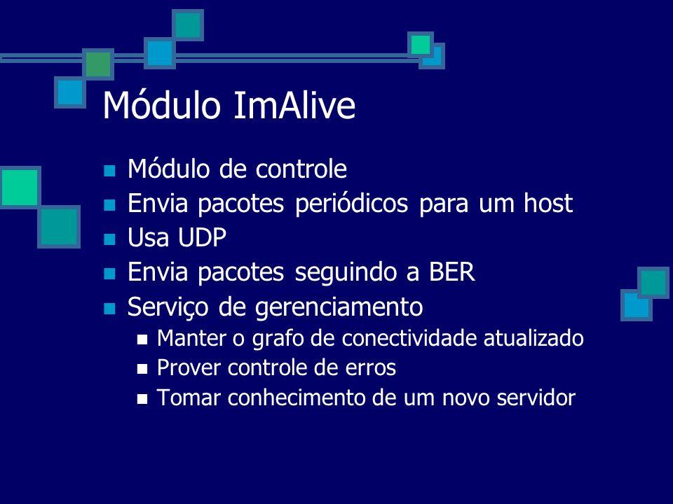 Módulo ImAlive Módulo de controle Envia pacotes periódicos para um host Usa UDP Envia pacotes seguindo a BER Serviço de gerenciamento Manter o grafo d