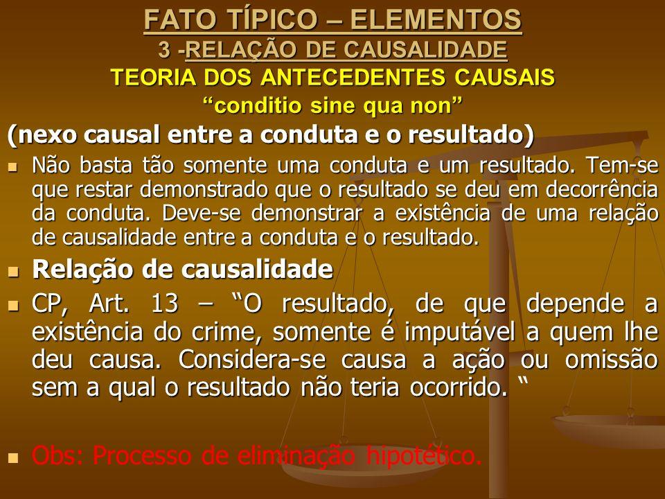 FATO TÍPICO – ELEMENTOS 3 -RELAÇÃO DE CAUSALIDADE TEORIA DOS ANTECEDENTES CAUSAIS conditio sine qua non (nexo causal entre a conduta e o resultado) Nã