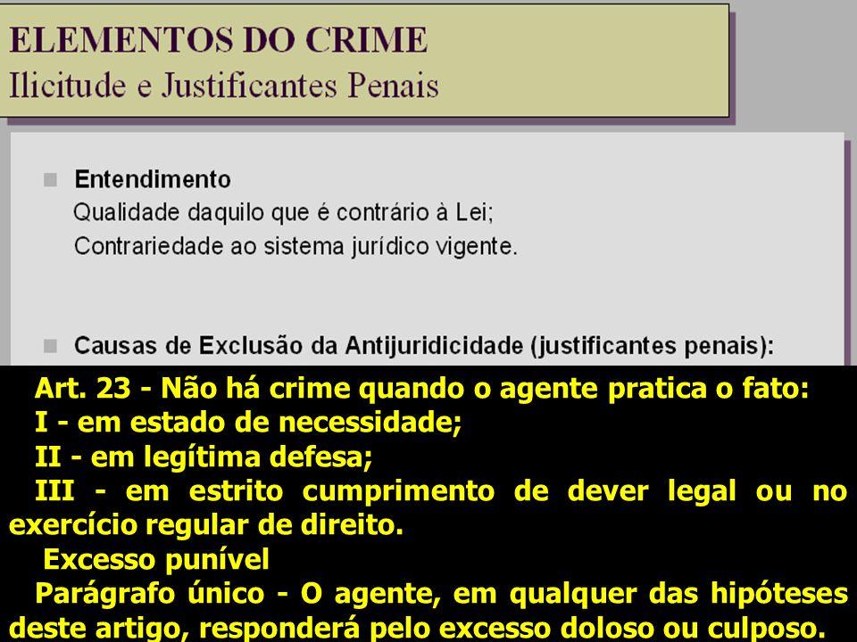 Art. 23 - Não há crime quando o agente pratica o fato: I - em estado de necessidade; II - em legítima defesa; III - em estrito cumprimento de dever le