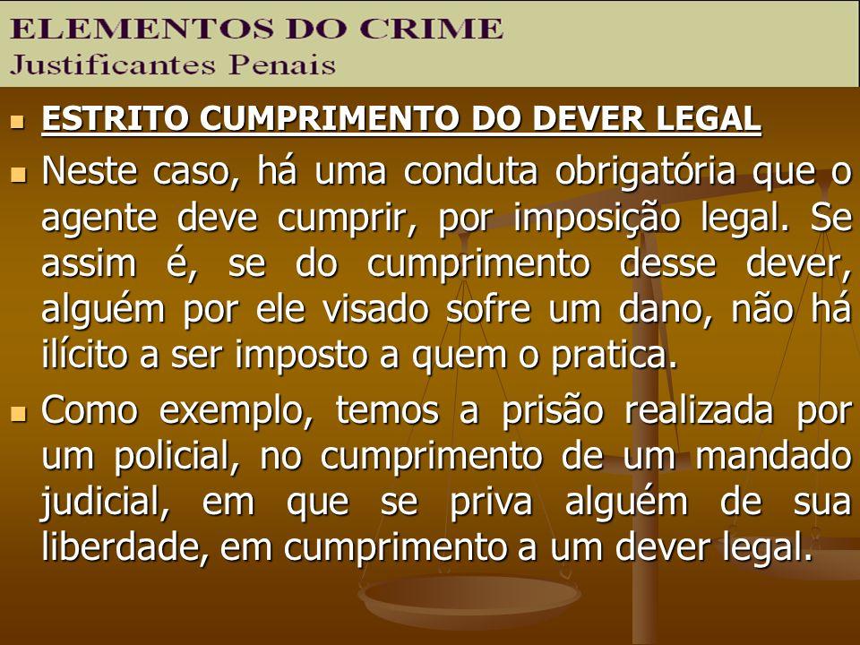 ESTRITO CUMPRIMENTO DO DEVER LEGAL ESTRITO CUMPRIMENTO DO DEVER LEGAL Neste caso, há uma conduta obrigatória que o agente deve cumprir, por imposição
