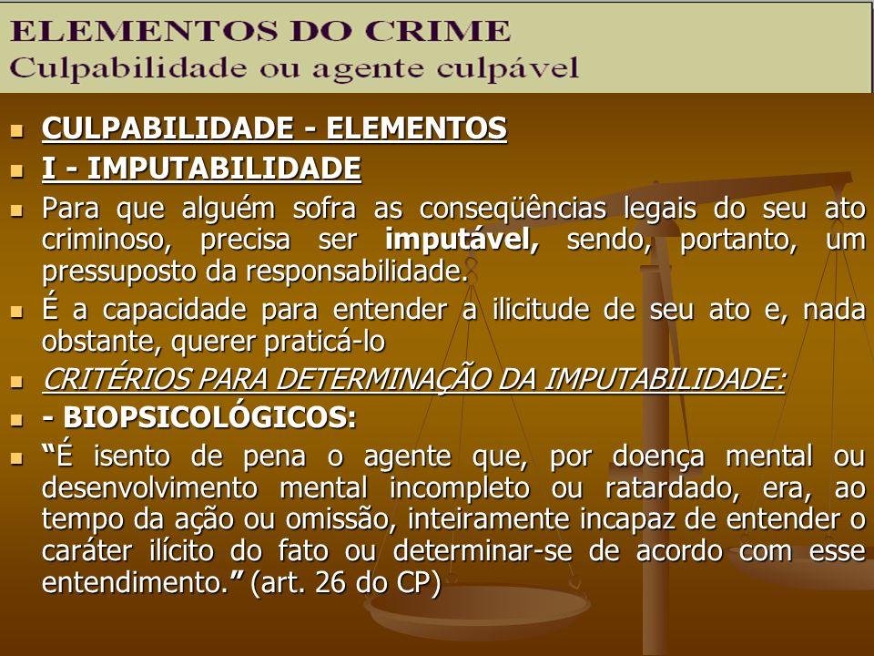 CULPABILIDADE - ELEMENTOS CULPABILIDADE - ELEMENTOS I - IMPUTABILIDADE I - IMPUTABILIDADE Para que alguém sofra as conseqüências legais do seu ato cri