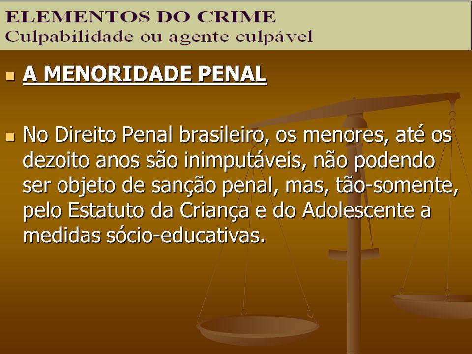 A MENORIDADE PENAL A MENORIDADE PENAL No Direito Penal brasileiro, os menores, até os dezoito anos são inimputáveis, não podendo ser objeto de sanção