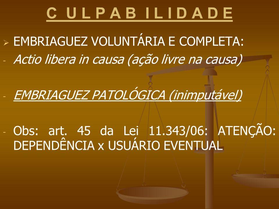 C U L P A B I L I D A D E EMBRIAGUEZ VOLUNTÁRIA E COMPLETA: - - Actio libera in causa (ação livre na causa) - - EMBRIAGUEZ PATOLÓGICA (inimputável) -
