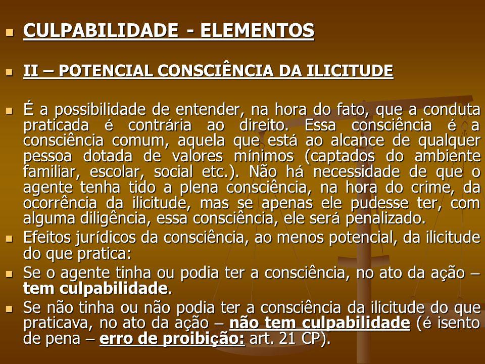 CULPABILIDADE - ELEMENTOS CULPABILIDADE - ELEMENTOS II – POTENCIAL CONSCIÊNCIA DA ILICITUDE II – POTENCIAL CONSCIÊNCIA DA ILICITUDE É a possibilidade