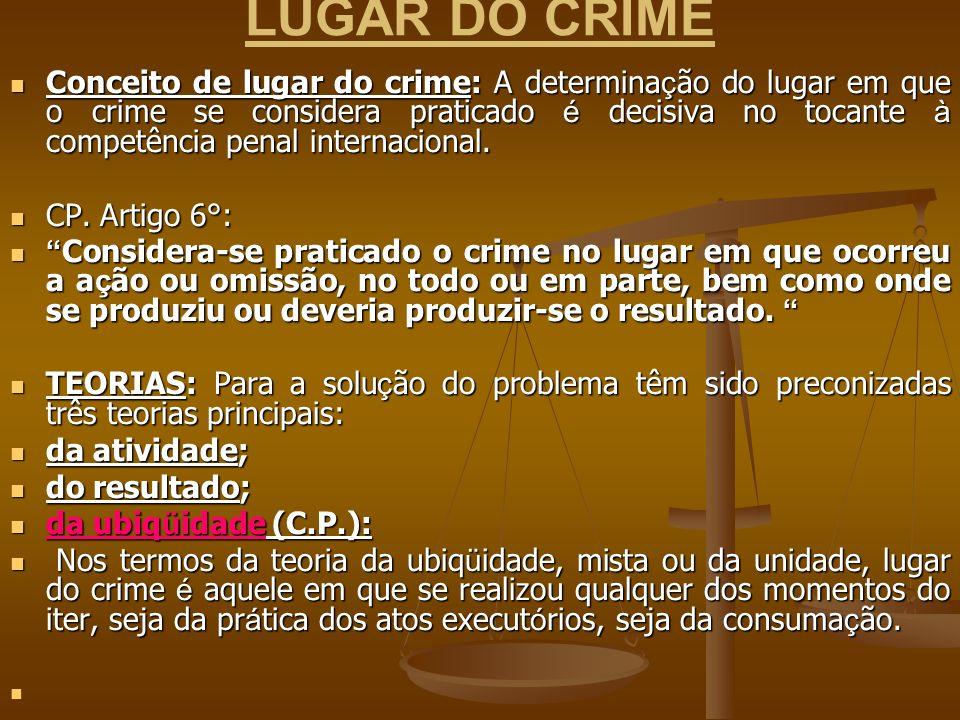 LUGAR DO CRIME Conceito de lugar do crime: A determina ç ão do lugar em que o crime se considera praticado é decisiva no tocante à competência penal i