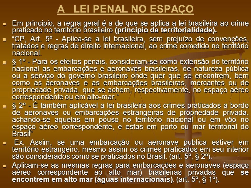 A LEI PENAL NO ESPAÇO Em principio, a regra geral é a de que se aplica a lei brasileira ao crime praticado no território brasileiro (princípio da terr