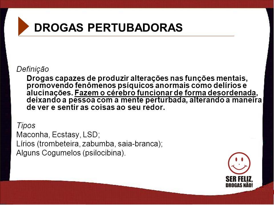 11 DROGAS PERTUBADORAS Definição Drogas capazes de produzir alterações nas funções mentais, promovendo fenômenos psíquicos anormais como delírios e al