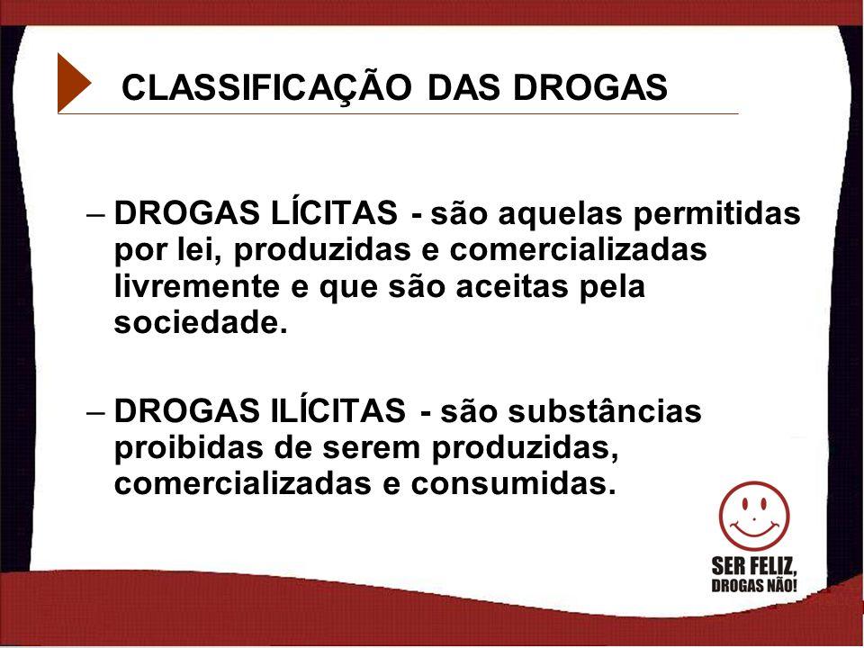 7 CLASSIFICAÇÃO DAS DROGAS –DROGAS LÍCITAS - são aquelas permitidas por lei, produzidas e comercializadas livremente e que são aceitas pela sociedade.