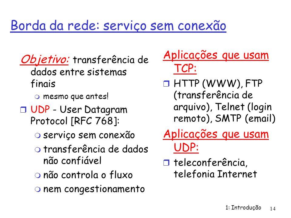 1: Introdução 14 Borda da rede: serviço sem conexão Objetivo: transferência de dados entre sistemas finais mesmo que antes! UDP - User Datagram Protoc