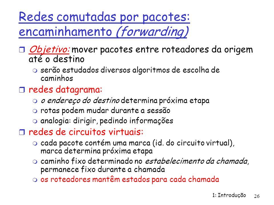 1: Introdução 26 Redes comutadas por pacotes: encaminhamento (forwarding) Objetivo: mover pacotes entre roteadores da origem até o destino serão estud
