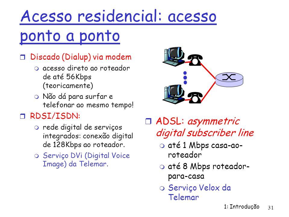 1: Introdução 31 Acesso residencial: acesso ponto a ponto Discado (Dialup) via modem acesso direto ao roteador de até 56Kbps (teoricamente) Não dá par