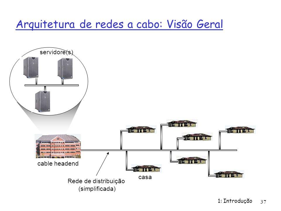 1: Introdução 37 Arquitetura de redes a cabo: Visão Geral cable headend servidore(s) Rede de distribuição (simplificada) casa