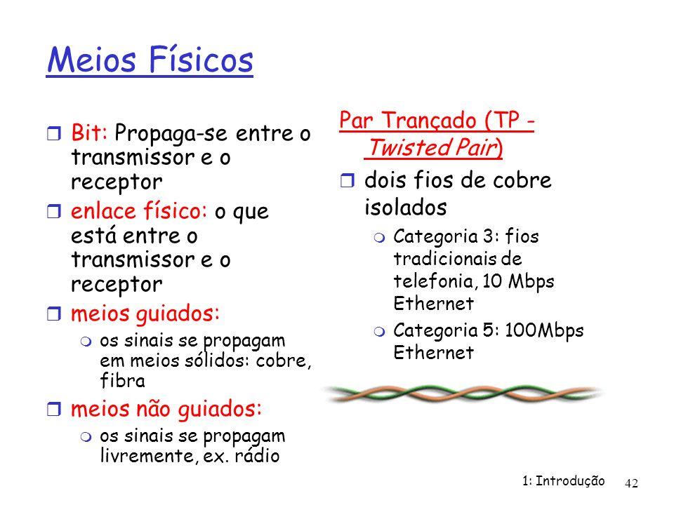 1: Introdução 42 Meios Físicos Bit: Propaga-se entre o transmissor e o receptor enlace físico: o que está entre o transmissor e o receptor meios guiad