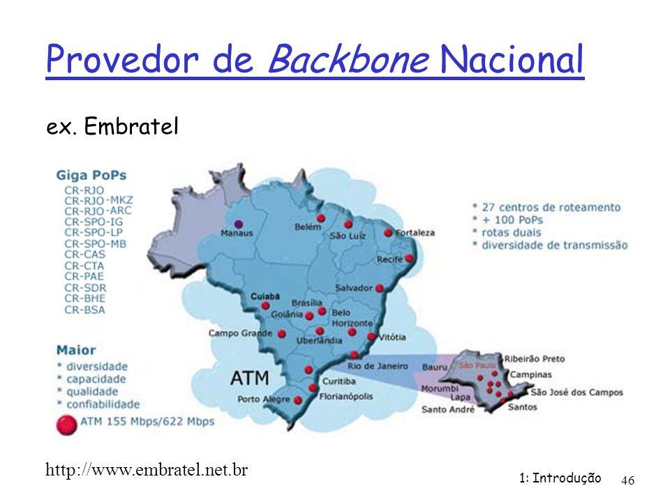 1: Introdução 46 Provedor de Backbone Nacional ex. Embratel http://www.embratel.net.br
