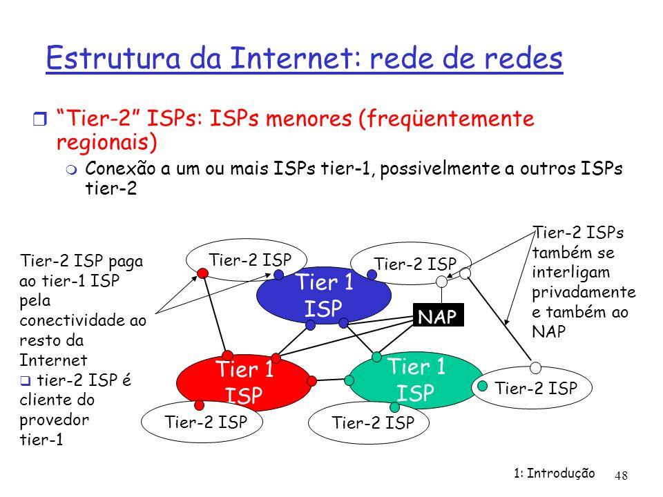1: Introdução 48 Tier-2 ISPs: ISPs menores (freqüentemente regionais) Conexão a um ou mais ISPs tier-1, possivelmente a outros ISPs tier-2 Tier 1 ISP