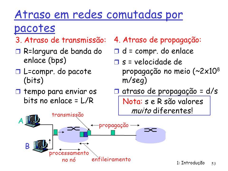 1: Introdução 53 Atraso em redes comutadas por pacotes 3. Atraso de transmissão: R=largura de banda do enlace (bps) L=compr. do pacote (bits) tempo pa
