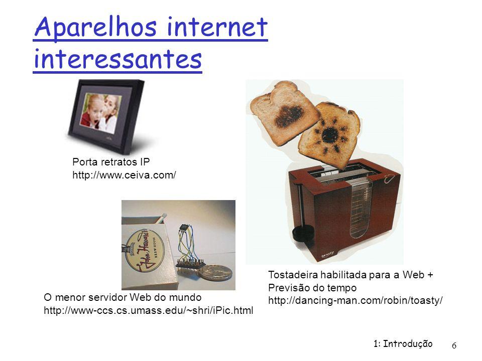 1: Introdução 6 Aparelhos internet interessantes O menor servidor Web do mundo http://www-ccs.cs.umass.edu/~shri/iPic.html Porta retratos IP http://ww