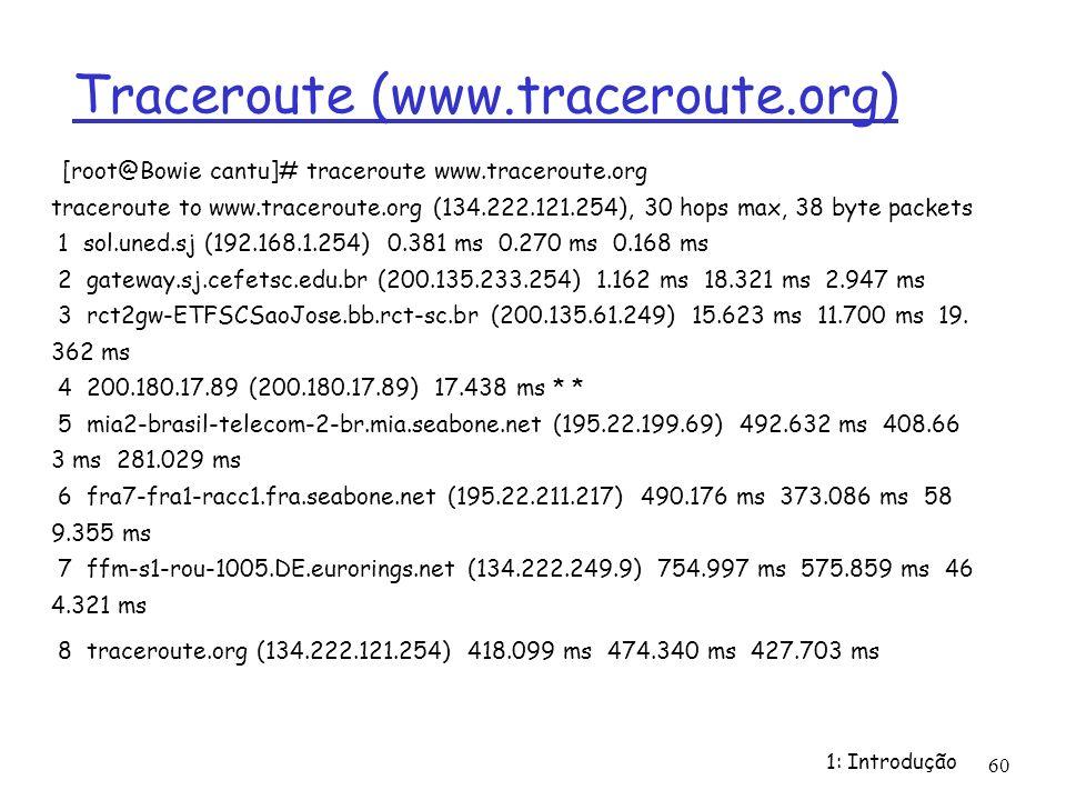 1: Introdução 60 Traceroute (www.traceroute.org) [root@Bowie cantu]# traceroute www.traceroute.org traceroute to www.traceroute.org (134.222.121.254),
