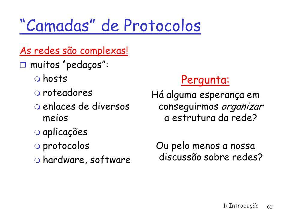 1: Introdução 62 Camadas de Protocolos As redes são complexas! muitos pedaços: hosts roteadores enlaces de diversos meios aplicações protocolos hardwa