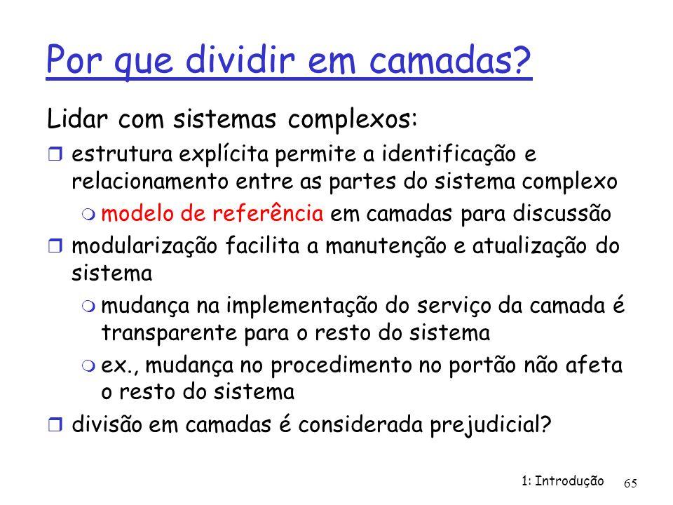 1: Introdução 65 Por que dividir em camadas? Lidar com sistemas complexos: estrutura explícita permite a identificação e relacionamento entre as parte