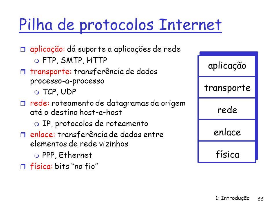 1: Introdução 66 Pilha de protocolos Internet aplicação: dá suporte a aplicações de rede FTP, SMTP, HTTP transporte: transferência de dados processo-a