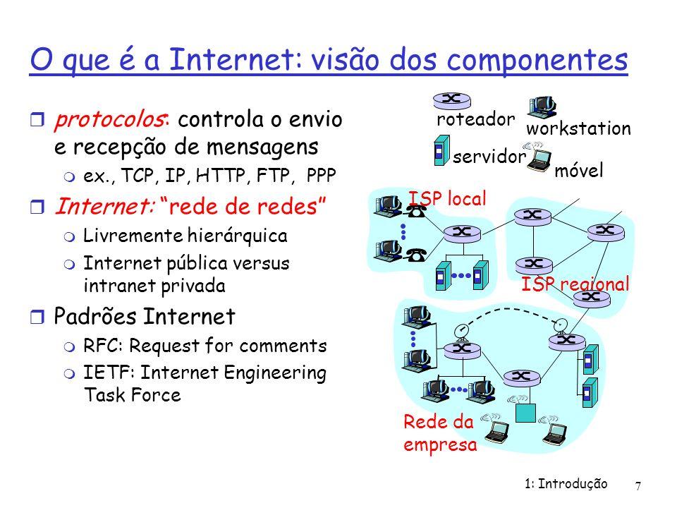 1: Introdução 7 O que é a Internet: visão dos componentes protocolos: controla o envio e recepção de mensagens ex., TCP, IP, HTTP, FTP, PPP Internet: